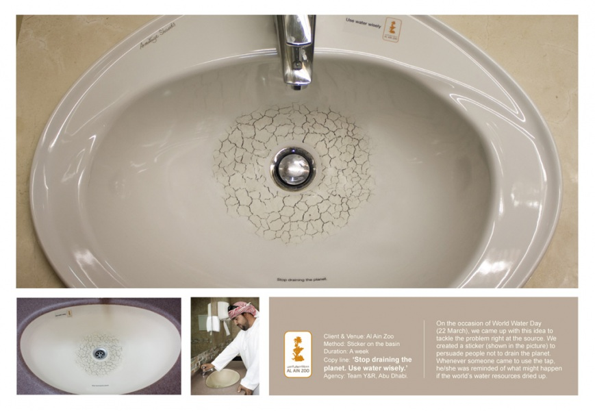 Stickering arabo contro lo spreco dell'acqua